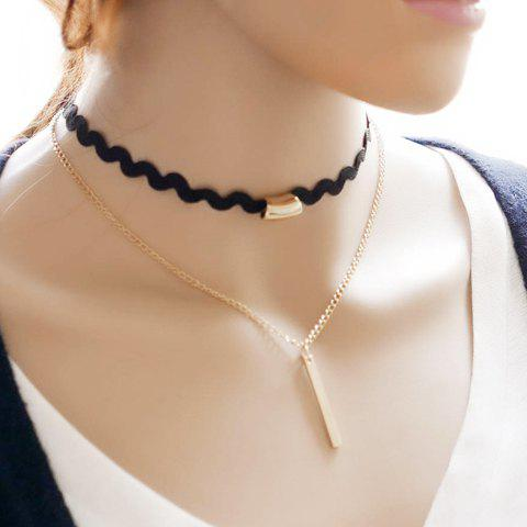 Bar Multilayered Choker Necklace - BLACK