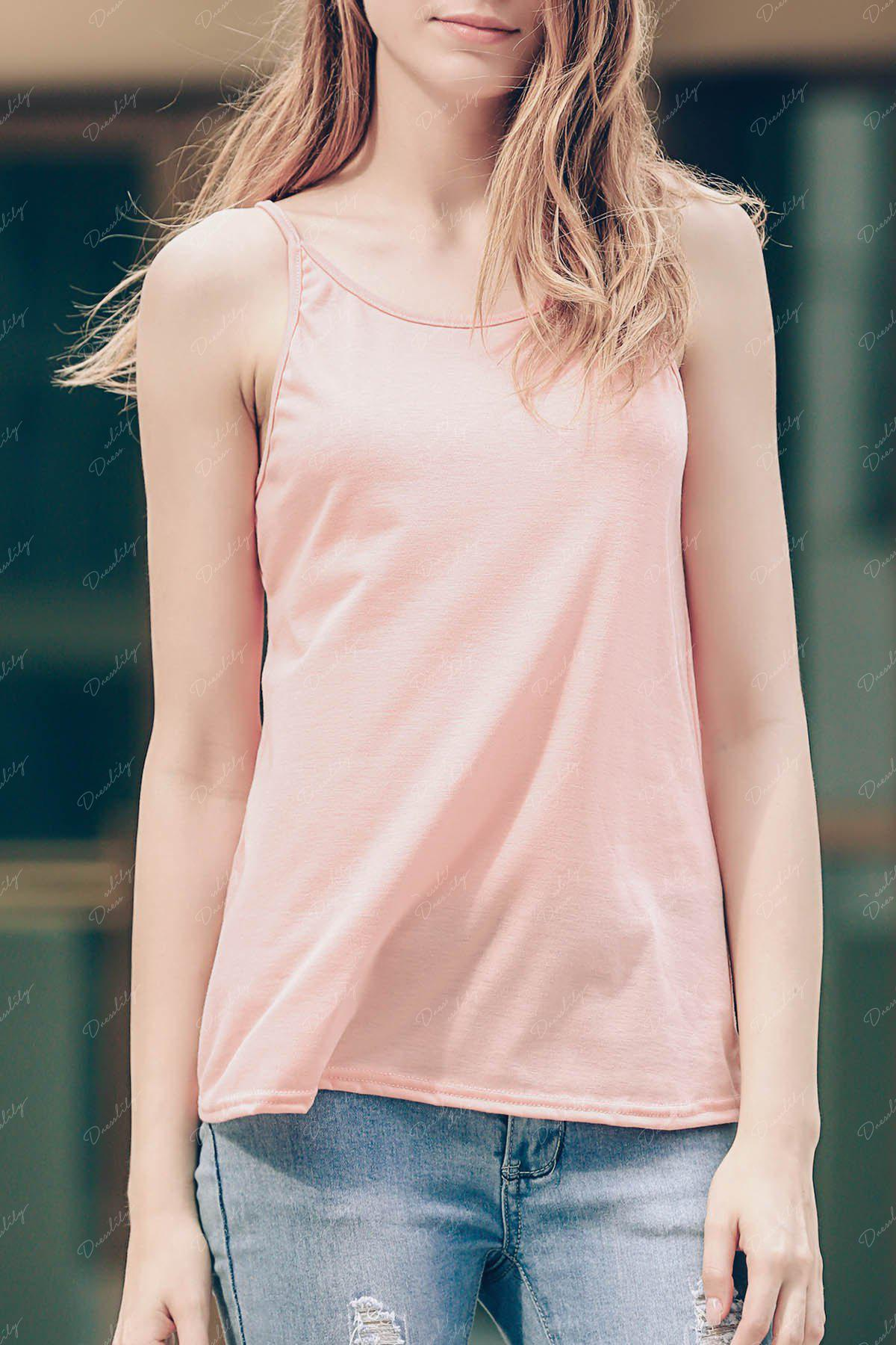 Stylish Scoop Neck Criss-Cross Straps Women's Tank Top - PINK M
