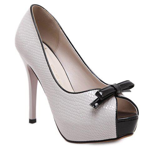 Fashionable Bowknot and Embossing Design Women's Peep Toe Shoes - LIGHT GRAY 38