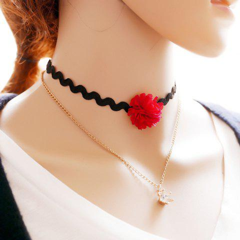 Graceful Multilayered Rhinestone Crown Choker Necklace For Women - GOLDEN