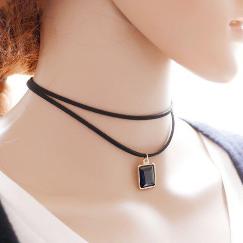 Layered Geometric Choker Necklace - BLACK