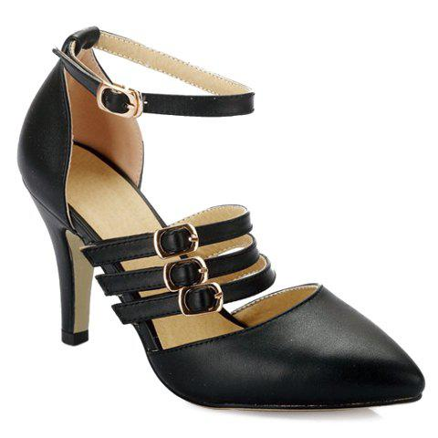 Trendy Pointed Toe and Buckles Design Women's Pumps - BLACK 39