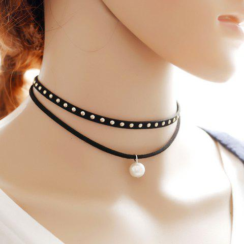 Layered Rivet Faux Pearl Choker Necklace - BLACK