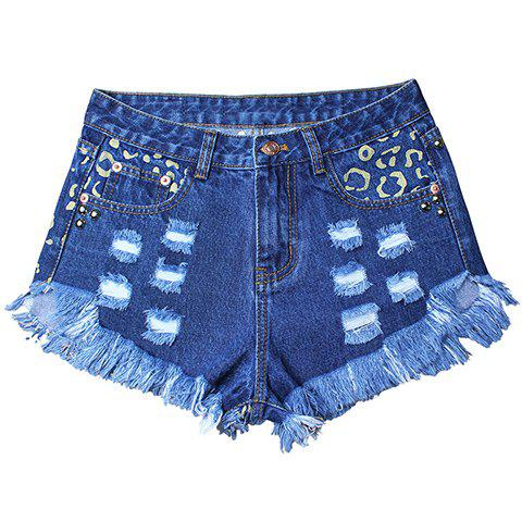 Street Style High Waist Women's Hole Design Rivet Embellish Fringed Denim Shorts - DEEP BLUE M