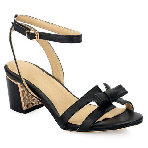 Leisure Bow and Chunky Heel Design Women's Sandals - BLACK 39