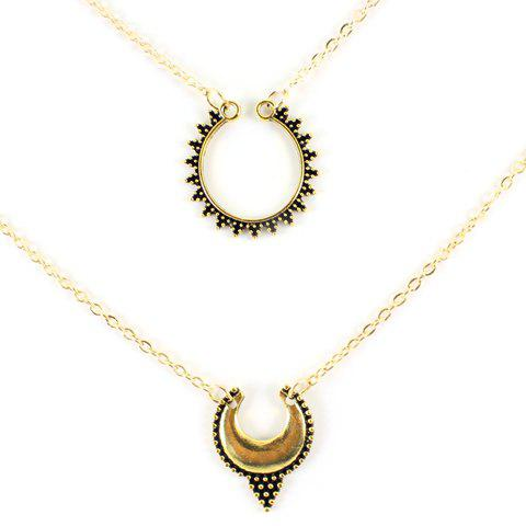Multilayered Hollow Out Moon Necklace - GOLDEN