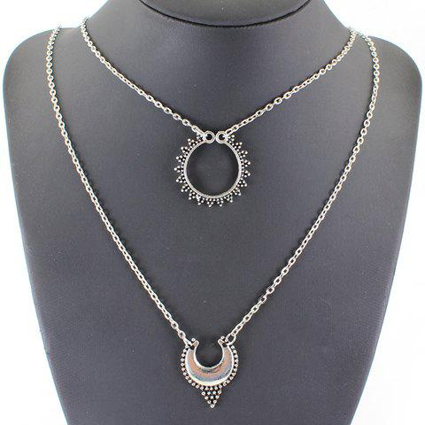 Multilayered Hollow Out Moon Necklace - SILVER
