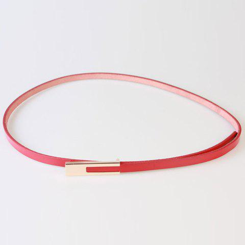 Chic Alloy Long Rectangle Buckle Women's PU Slender Belt - RED