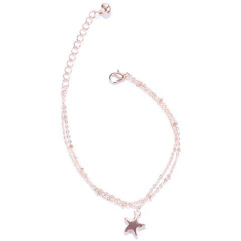 Charming Multilayer Pentagram Pendant Anklet For Women - GOLDEN