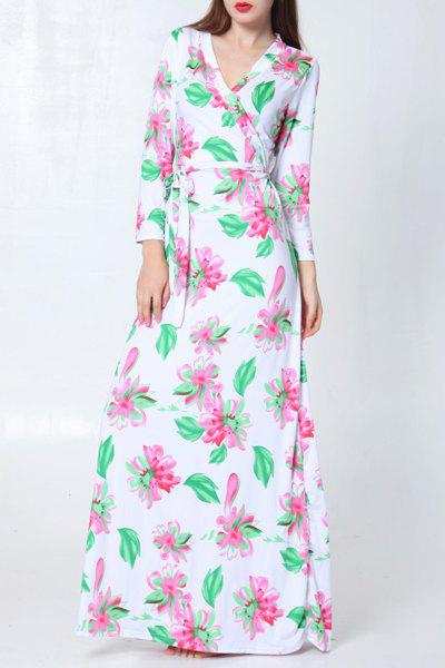 Trendy Long Sleeve Belted Floral Printed Maxi Dress For Women - WHITE ONE SIZE(FIT SIZE XS TO M)