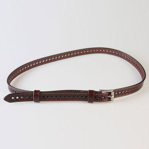 Chic Pin Buckle Hollow Rhombus Polka Dot Women's PU Belt