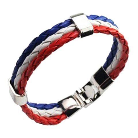 Braided Rope Faux Leather France Bracelet - WHITE