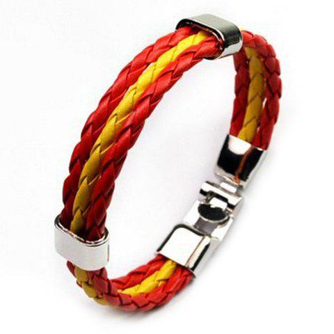 Layered Faux Leather Spain Bracelet - RED