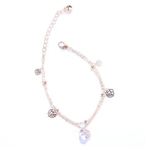 Charming Multilayer Faux Crystal Flowers Anklet For Women - GOLDEN