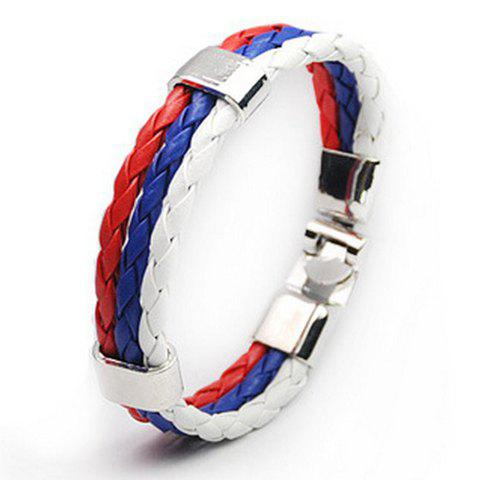 Layered Faux Leather Russia Bracelet - WHITE