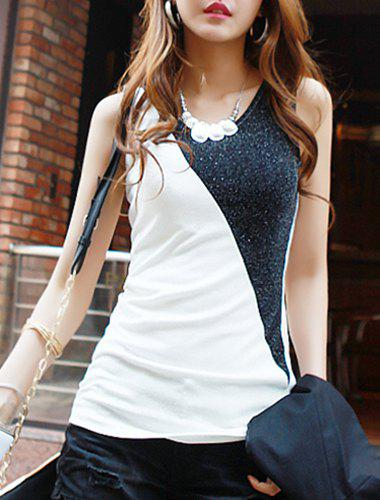 Stylish Spliced Sleeveless Scoop Neck Women's Tank Top - WHITE ONE SIZE(FIT SIZE XS TO M)