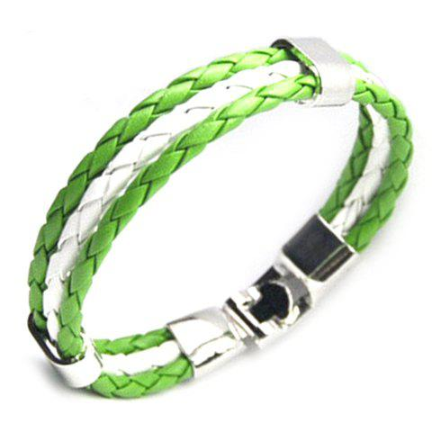 Layered Faux Leather Nigeria Bracelet - GREEN