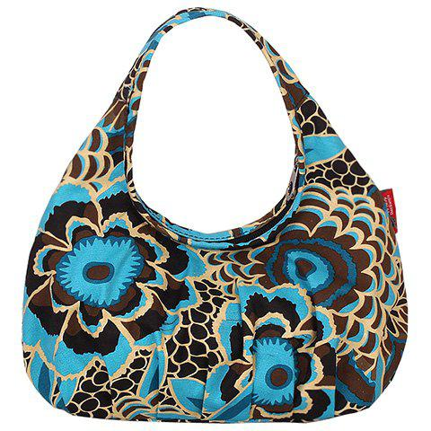 Stylish Floral Print and Canvas Design Women's Tote Bag - BLUE