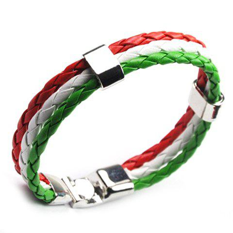 Layered Faux Leather Italy Bracelet - GREEN