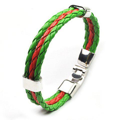 Layered Faux Leather Portugal Bracelet - GREEN