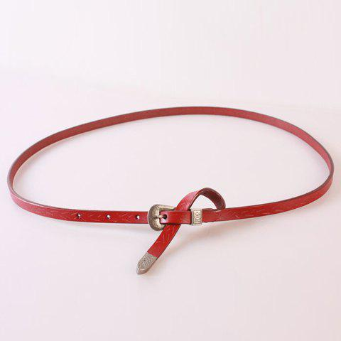 Chic Ethnic Style Pin Buckle Solid Color Women's PU Belt