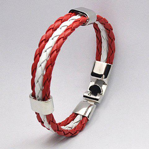 Delicate Faux Leather Canada Bracelet For Men -  RED