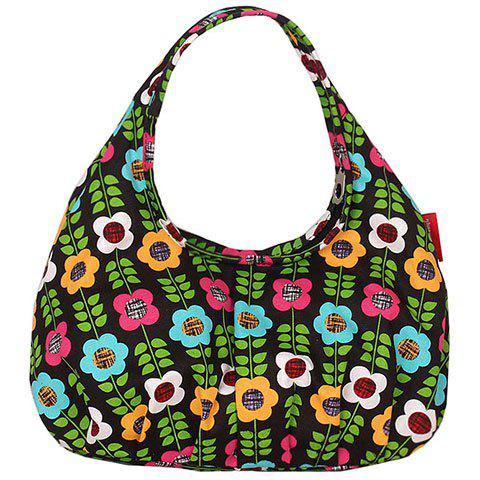 Cute Floral Print And Canvas Design Womenu0026#39;s Tote Bag BLACK In Tote Bags | DressLily.com
