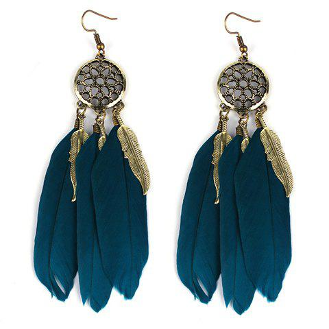 Pair of Elegant Faux Feather Flower Hollow Out Earrings For Women