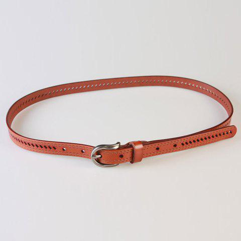 Chic Pin Buckle Hollow Ellipse Embossing Women's PU Slender Belt