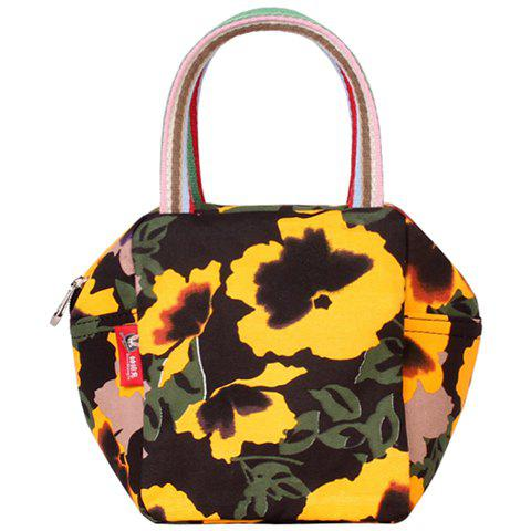 Leisure Canvas and Flower Print Design Women's Tote Bag - BLACK