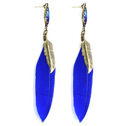 Pair of Feather Faux Gem Drop Earrings - SAPPHIRE BLUE