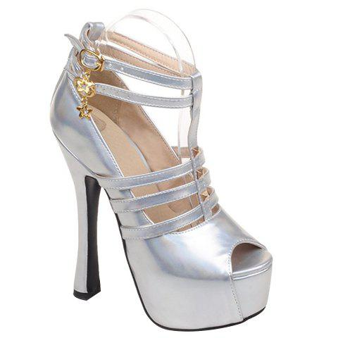 Trendy Rivets and T-Strap Design Women's Peep Toe Shoes - SILVER 38