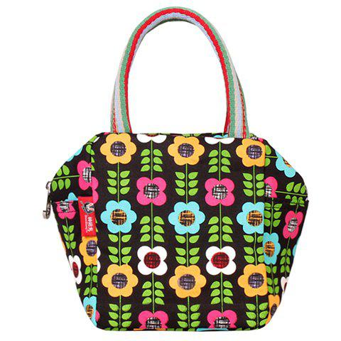Leisure Floral Print and Canvas Design Women's Tote Bag - BLACK