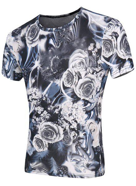 Short Sleeve Roses Print Round Neck Men's T-Shirt - GRAY M
