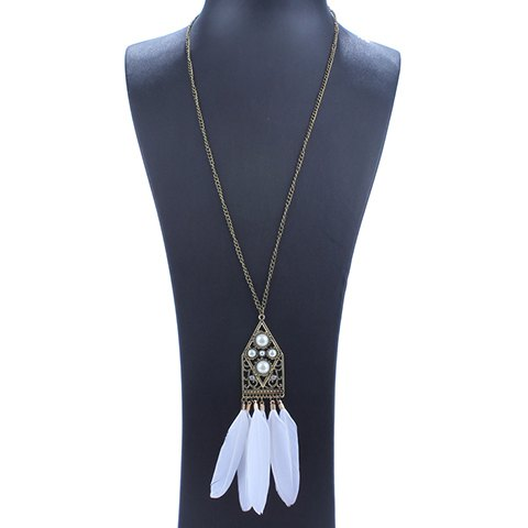 Elegant Faux Pearls Feather Hollow Out Necklace For Women
