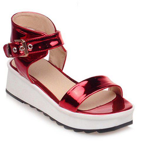 Trendy Solid Colour and Wedge Heel Design Women's Sandals - RED 38