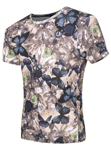 Short Sleeve Butterflys Print Round Neck Men's T-Shirt - COLORMIX M