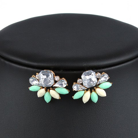 Pair of Water Drop Faux Crystals Stud Earrings - COLORMIX