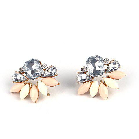 Pair of Elegant Faux Crystals Water Drop Oval Stud Earrings For Women