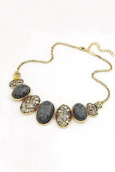 Chic Tribal Style Faux Gem Statement Necklace For Women - BLACK