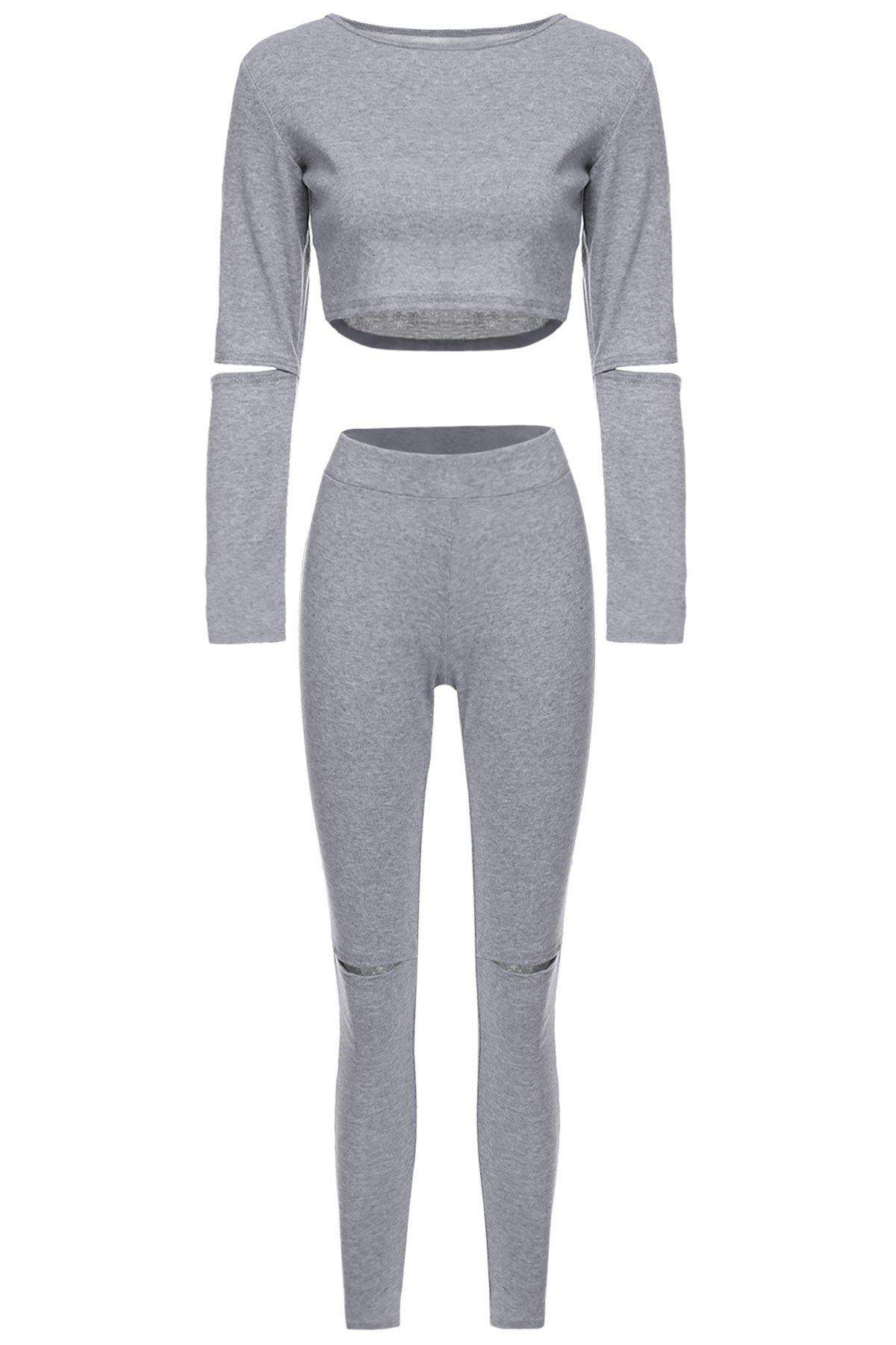 Stylish Long Sleeve Scoop Neck Solid Color Hollow Out Crop Top + Skinny Pants Women's Twinset - GRAY M