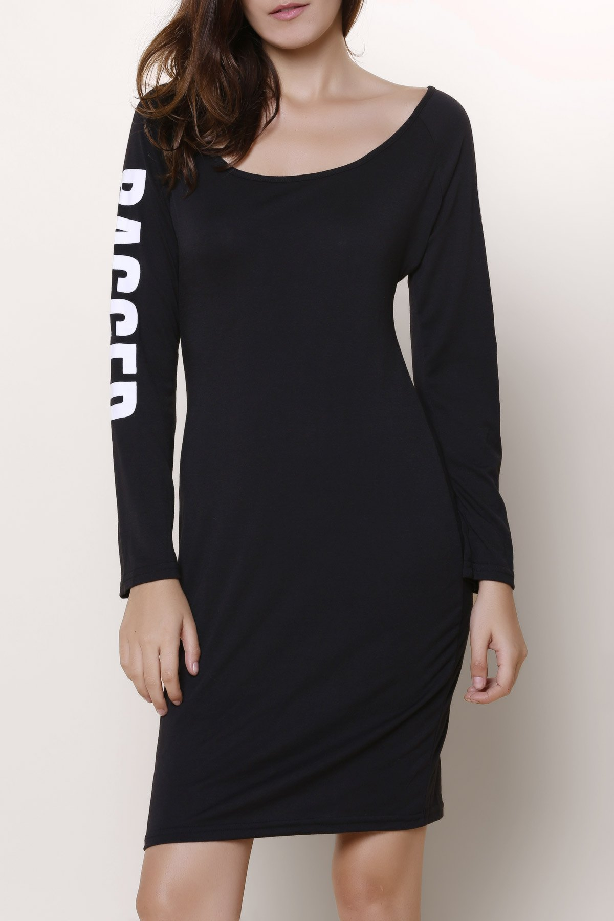 Chic  Low-Cut Scoop Neck Letter Printed Back Ripped Hollow Out Bodycon Dress For Women - BLACK L