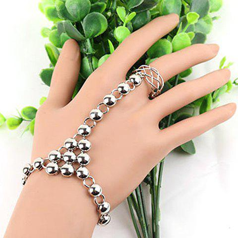 Round Hollow Out Bracelet with Ring - SILVER