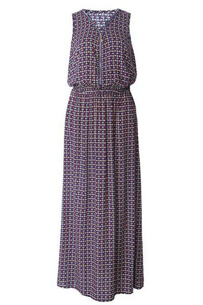 Trendy Printed V Neck Sleeveless Dress For Women - COLORMIX L