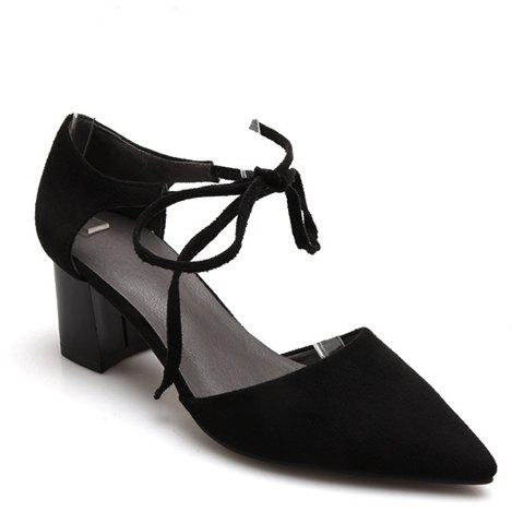 Trendy Suede and Chunky Heel Design Women's Pumps - BLACK 34