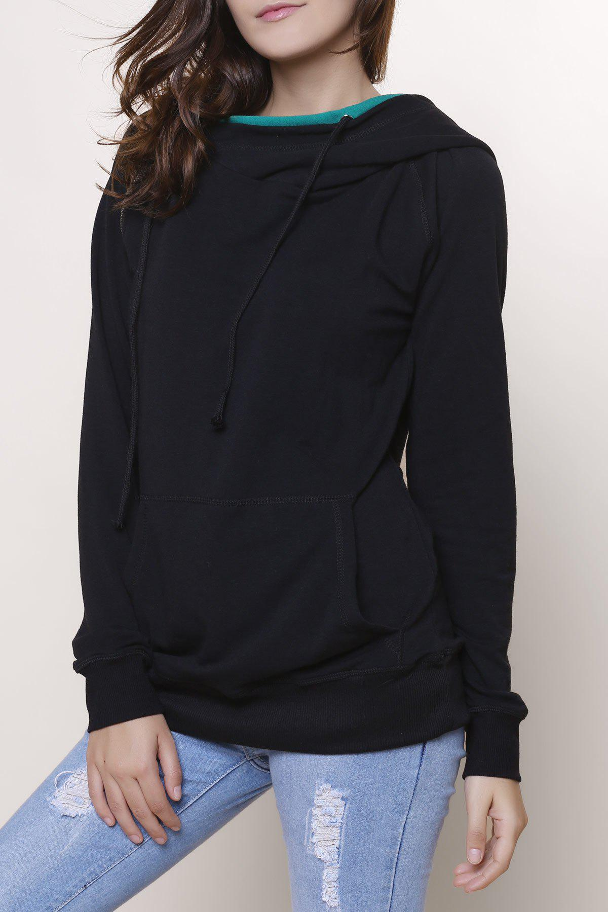Simple Style Double-Face Hooded Skew Zippered Long Sleeve Pullover Hoodie For Women
