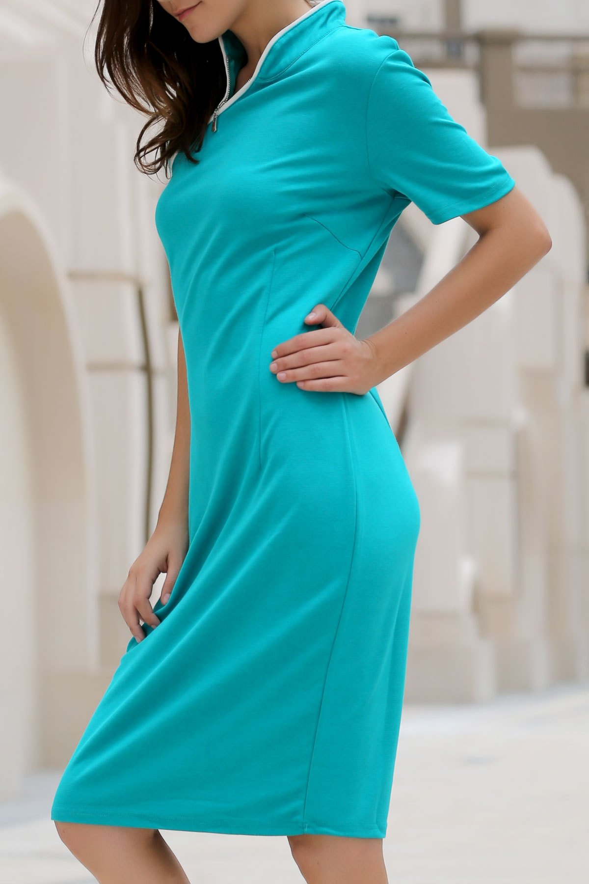 Charming Stand Collar Skew Zippered Bodycon Lace Dress For Women - GREEN XL