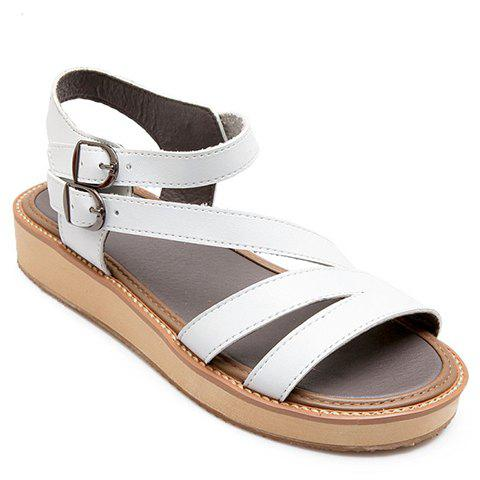 Simple Flat Heel and Double Buckle Design Women's Sandals - WHITE 38