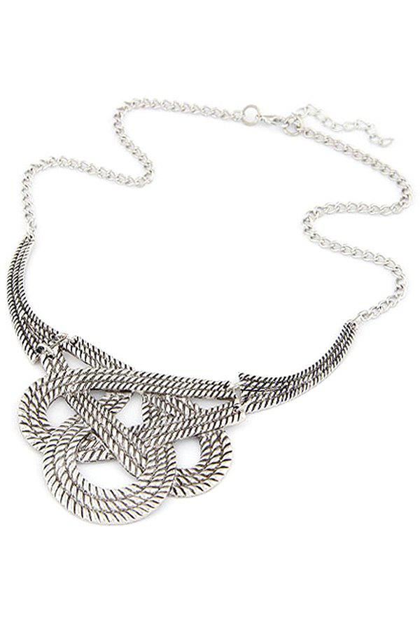 Ethnic Hollow Weaving Knotted Clavicle Necklace - SILVER