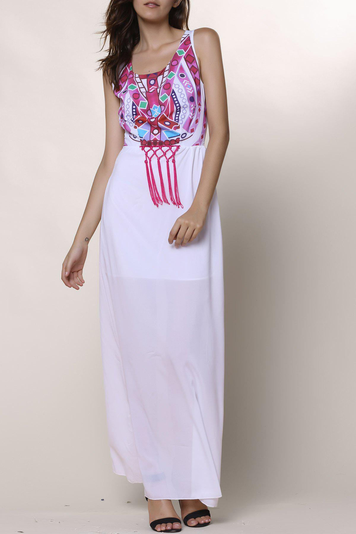 Ethnic Style Sleeveless Round Collar Printed Women's Dress - WHITE L